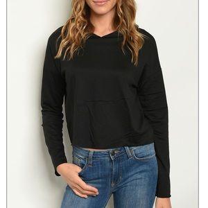 Black hooded cropped sweatshirt w/cat ears